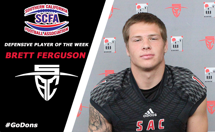 Ferguson Named SCFA Defensive Player of the Week