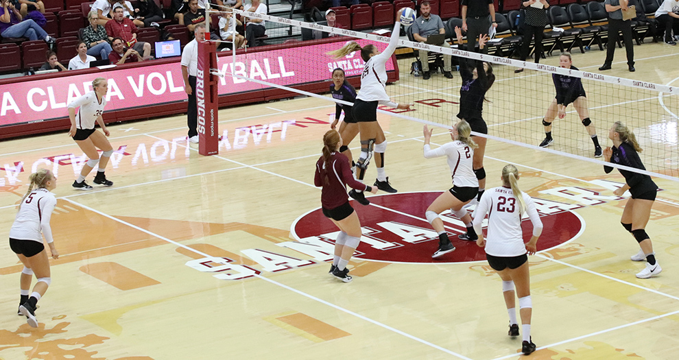 Taylor Odom goes up for an attack attempt against Portland on Saturday, Sept. 30. Santa Clara has played four of its last five matches in Leavey Center.