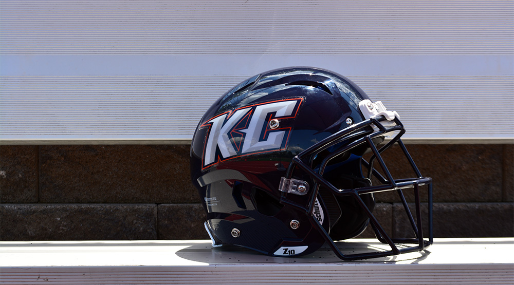 Keystone's helmet on a metal bench with a brick background. (Keystone athletics photo)