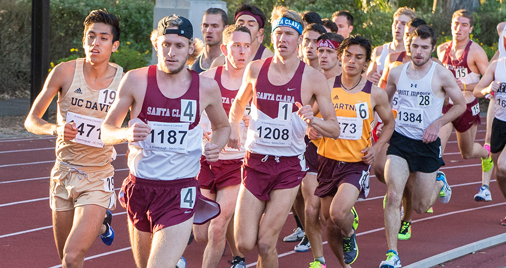 Aaron Brumbaugh (4), Will Burschinger (middle) and Evan Misuraca (1) compete at the 2017 San Francisco State Distance Carnival, where the Broncos will return during their 13-meet season in 2018.