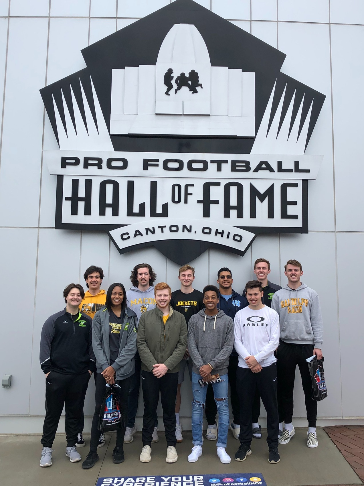 Team at pro football hall of fame