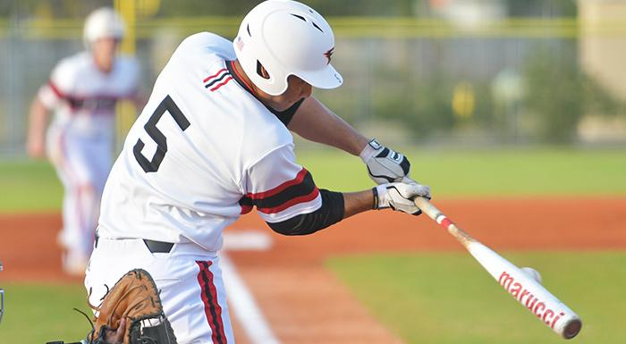Trent Sinkfield blasted a home run and collected three RBI as the Eagles topped Tampa 8-5 in 11 innings. (Photo by Tom Hagerty, Polk State.)