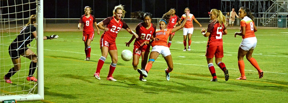 Alexis Hernandez scoring the game-winning goal to give the Aztecs women's soccer a 2-1 victory in double overtime. Photo by Ben Caebajal.
