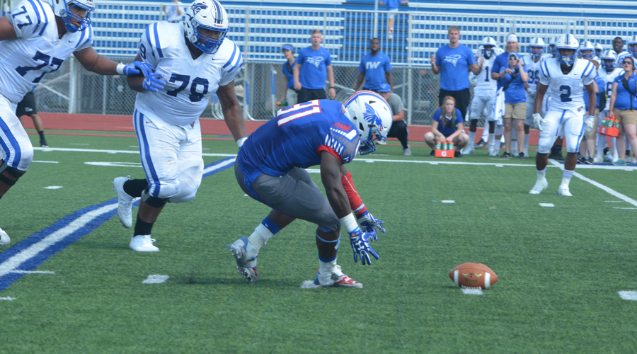 This fumble picked up and returned by Ronheen Bingham in the 2016 Hutchinson-Iowa Western game clicked a 21-12 win two years ago at Gowans Stadium. No. 11 Hutch and No. 1 IWCC meet again at Gowans at Noon Saturday.