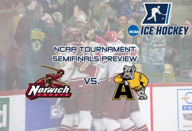 Men's Hockey - NCAA Semifinal Preview vs. Adrian - group celebration