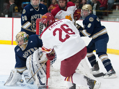 Senior Mike Embach netted his nation-leading fifth short-handed goal of this season in the 3-2 home loss to #8 Notre Dame.  (Photo by Ed Hyde/FSU Photographic Services)