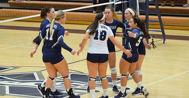 The Greyhounds celebrate a point versus Penn State Berks during the 2017 season.