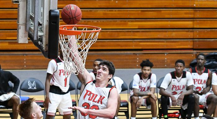 Bernat Vanaclocha scores against Palm Beach. He had 17 points as the Eagles defeated the Panthers 78-68. (Photo by Tom Hagerty, Polk State.)