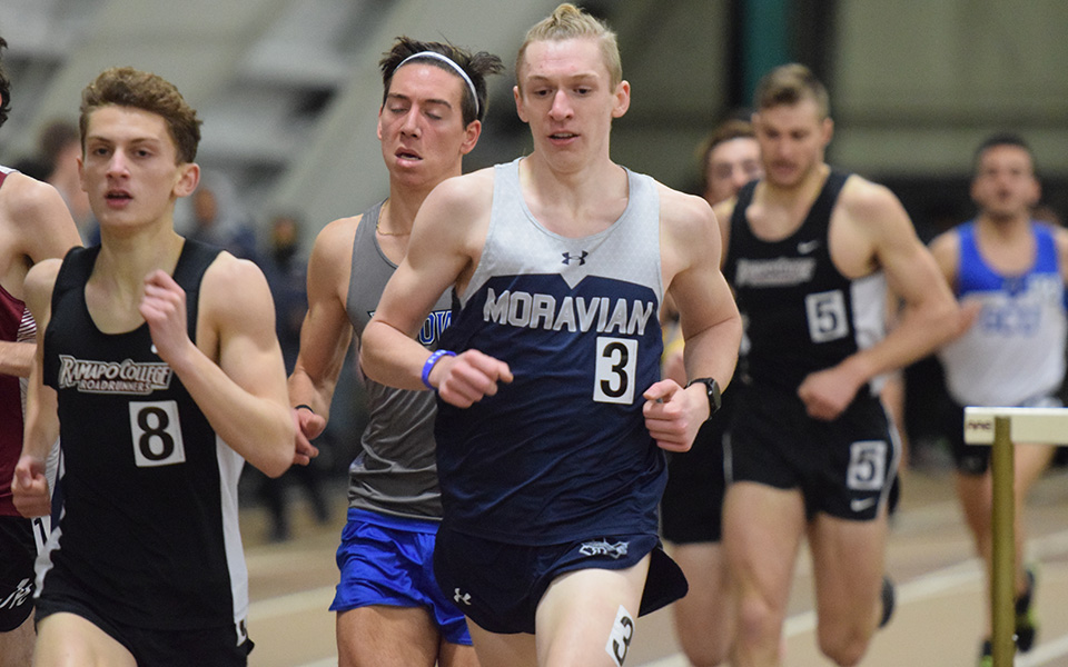 Junior Greg Jaindl runs a personal best in the mile at the Moravian Indoor Invitational at Lehigh University's Rauch Fieldhouse.