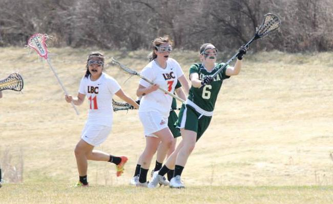 Freshman Taylor Willsey (No. 6) and the Keuka College women's lacrosse team posted a 19-0 shutout of Medaille College Saturday, the Storm's third shutout this year (photo courtesy of Carly Volante, Keuka College Sports Information Department).