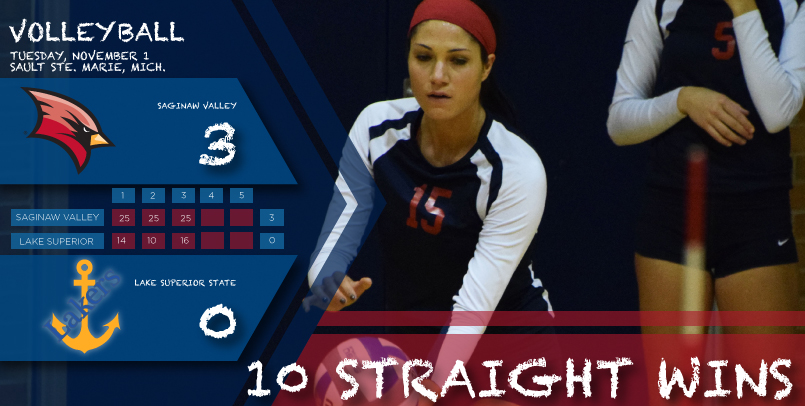 Volleyball Grabs Record 10th Straight Victory at LSSU