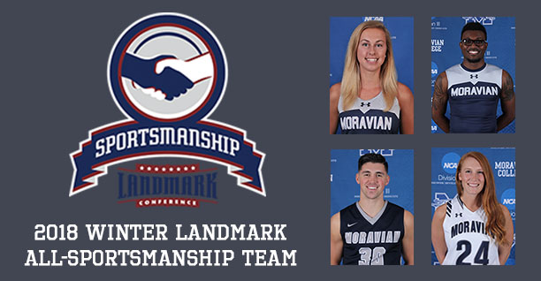 Matt Cardonne '18, Trista Cunningham '18, Eric Morton '18 and Katie Mayer '20 have been selected to the 2018 Landmark Conference Winter All-Sportsmanship Team.