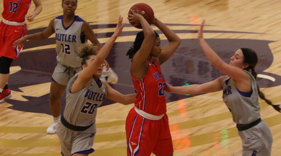 Dejanae Roebuck is double teamed by a pair of Butler Grizzlies in the Blue Dragon Women's 59-53 victory on Wednesday in El Dorado. (Joel Powers/Blue Dragon Sports Information)