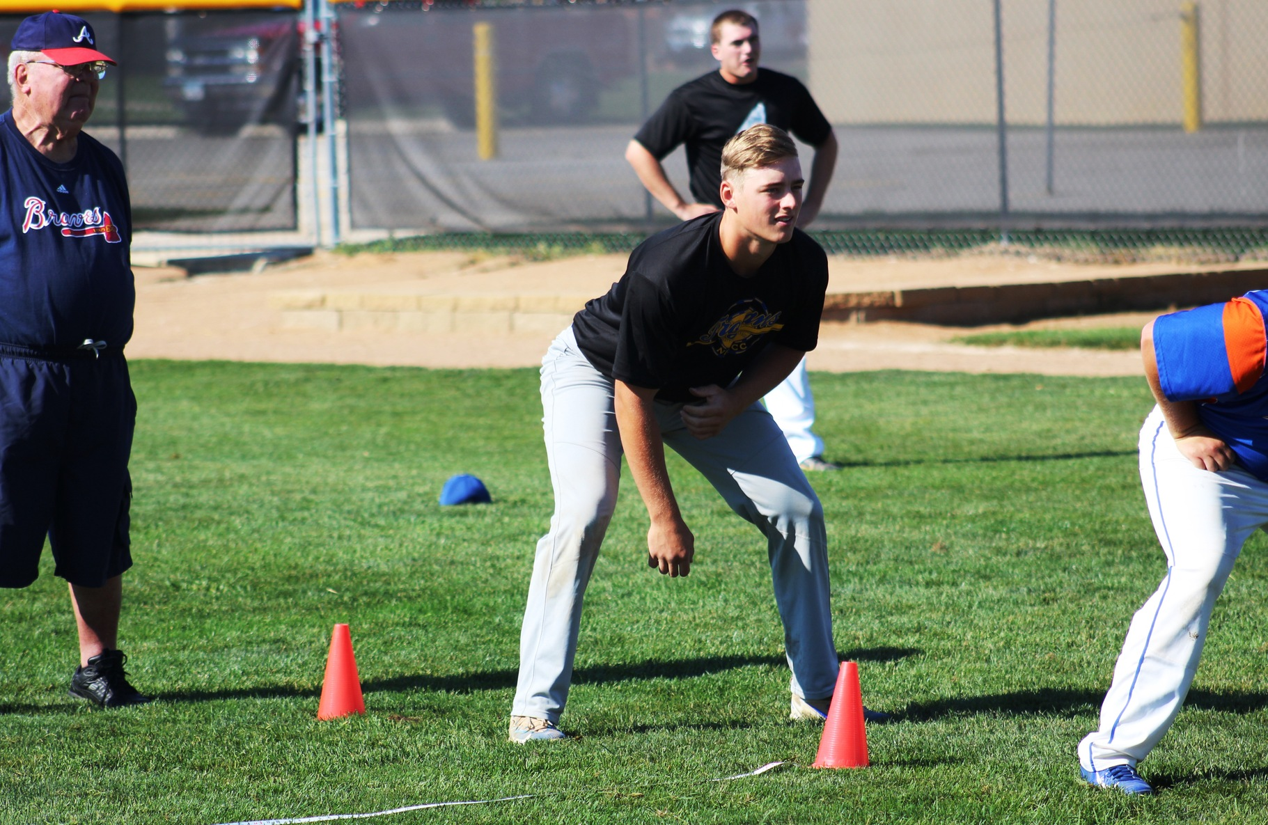 NIACC's Cade Schares gets ready to start the 60-yard dash at the Atlanta Braves tryout day Tuesday at Roosevelt Field.
