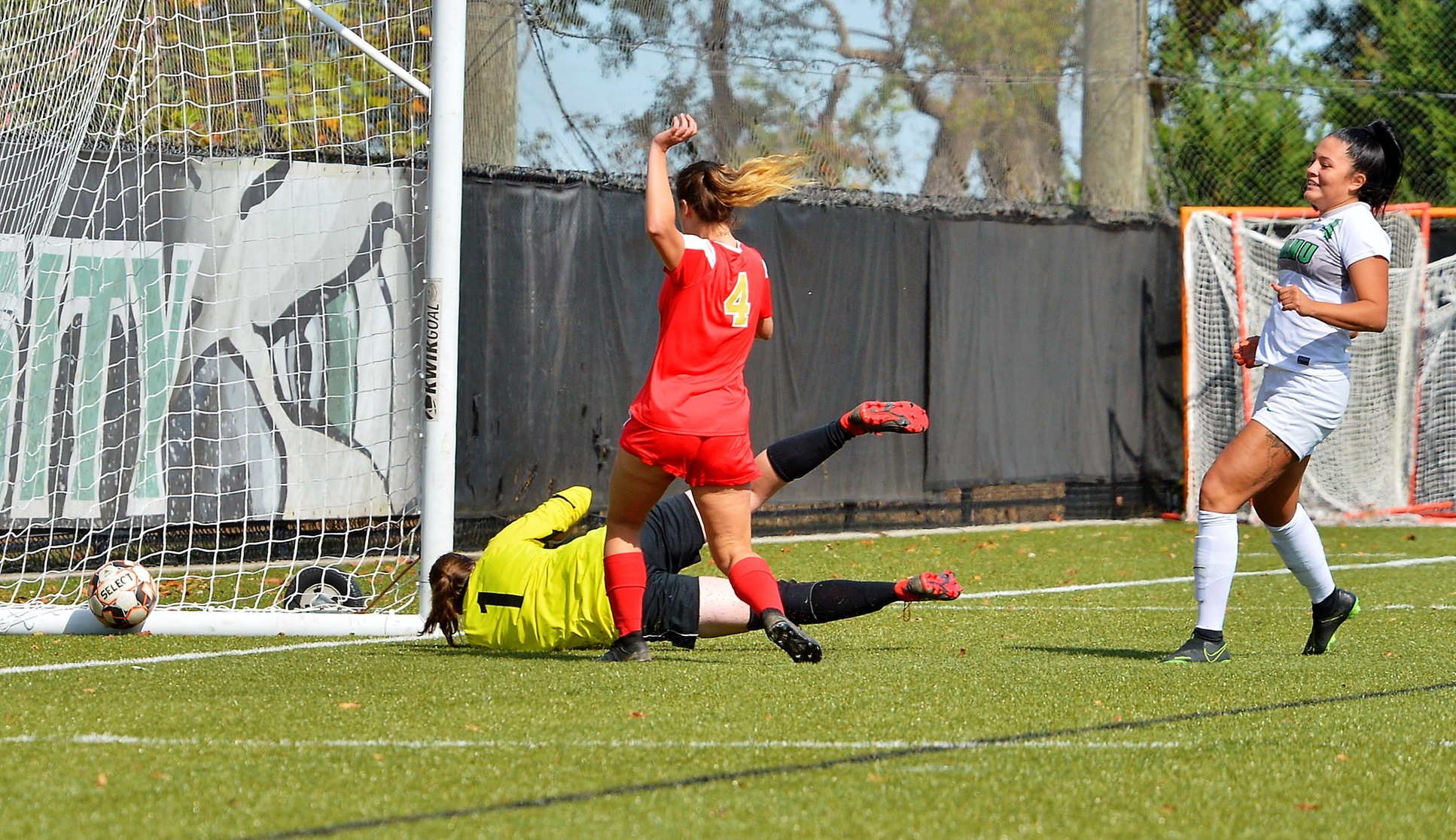 Photo of Jessica Unsihuay scoring against Caldwell. Copyright 2019; Wilmington University. All rights reserved. Photo by James Jones. October 19, 2019 vs. Caldwell.