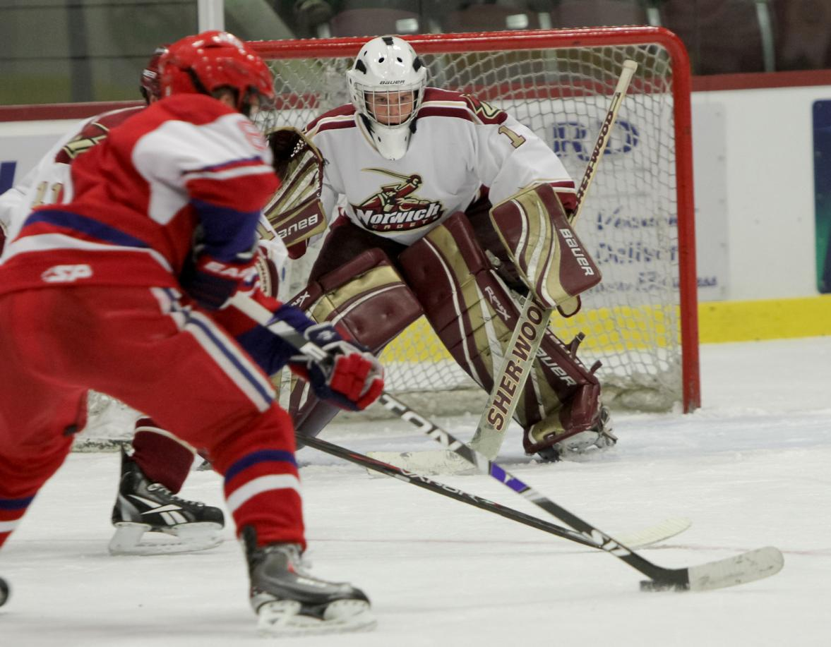 Men's Hockey: Cadets down New England College 6-3 to win home opener