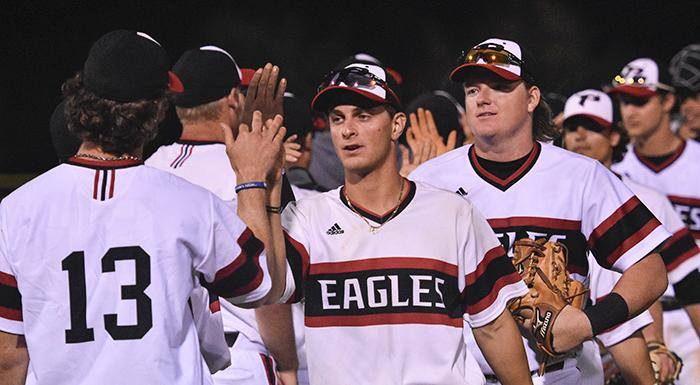Skylar Frey and the Eagles celebrate after winning their fifth straight game. (Photo by Tom Hagerty, Polk State.)