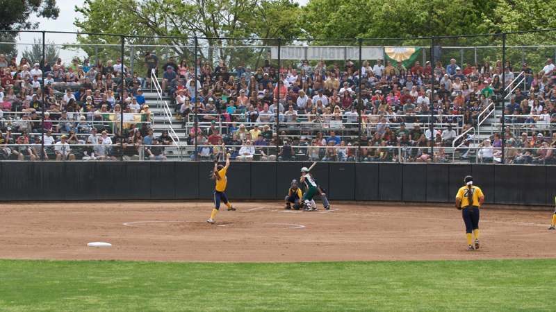 A RECORD CROWD TREATED TO PITCHERS DUEL IN SOFTBALL'S 1-0 LOSS TO #5 CAL