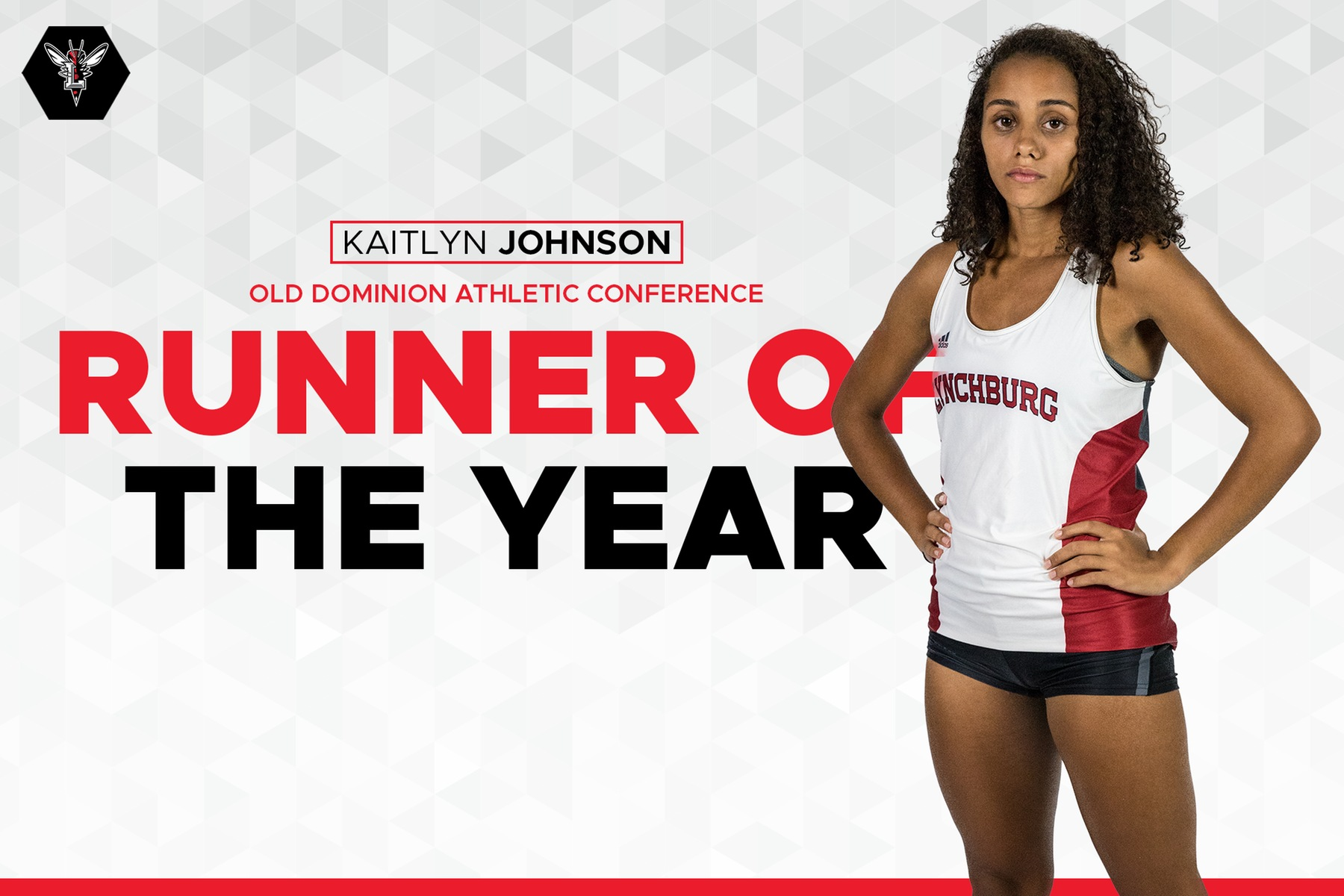 Graphic with cutout image of Kaitlyn Johnson in uniform on white background. Text: Kaitlyn Johnson ODAC runner of the year