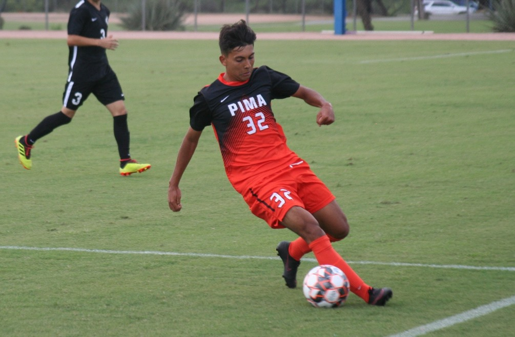 Freshman Ricky Gordillo had a goal and an assist in Pima men's soccer 3-0 home opener win over Chandler-Gilbert Community College. The Aztecs are 1-1 on the season. Photo by Stephanie Van Latum