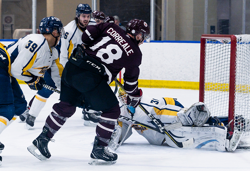 Nic Correale, seen against Concordia in a game earlier this season, scored twice and blocked several shots on the penalty to lead the Griffins to a 5-2 win on Saturday (Matthew Jacula photo).