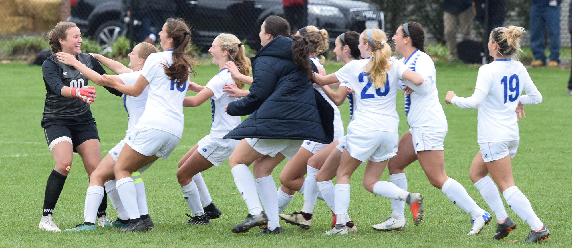 Western New England advanced to the CCC Tournament semifinals for the second consecutive season with a PK shootout win over Roger Williams on Sunday.