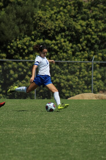 #6 Antoinete Saldana looking to score for SMC.  Saldana scored two goals and had one assist in the 6-1 championship clinching match against Glendale College.