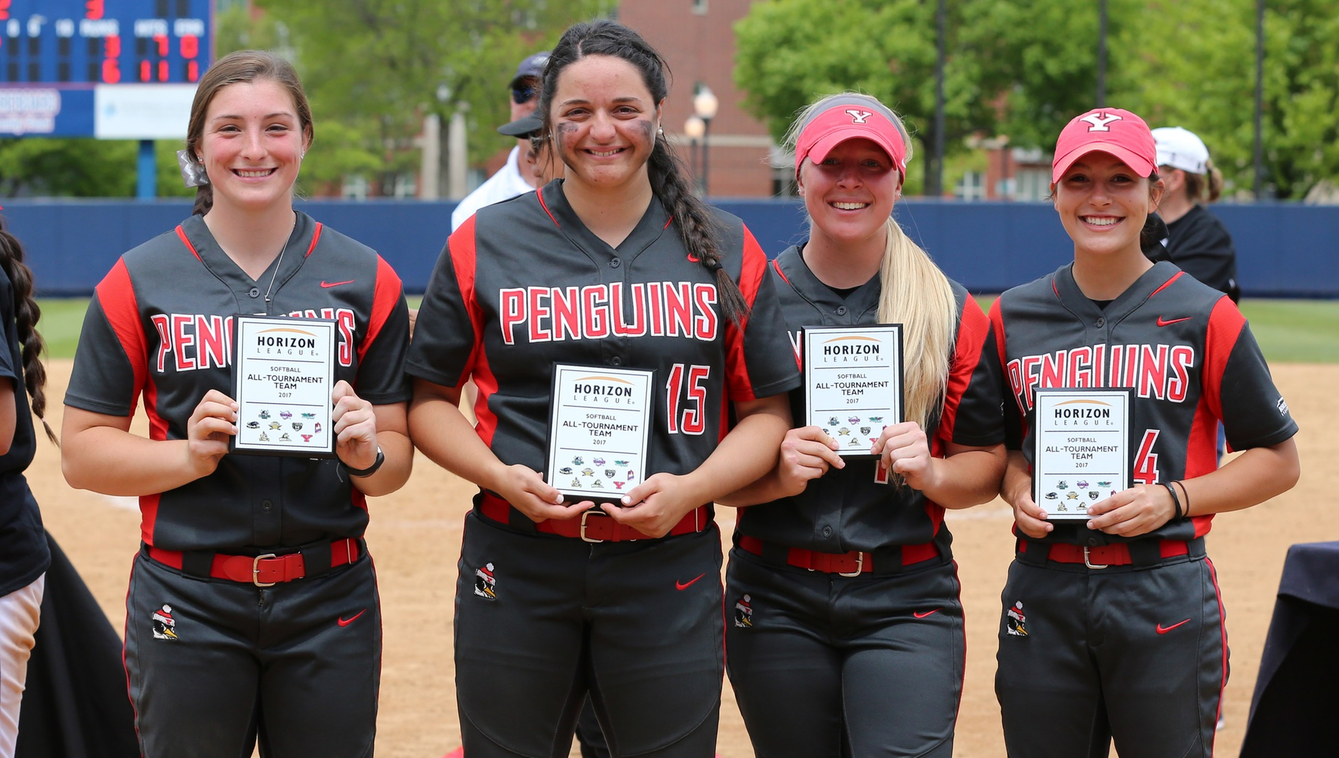 Horizon League All-Tournament Team selections Maddi Lusk, Maria Lacatena, Sarah Dowd and Cali Mikovich
