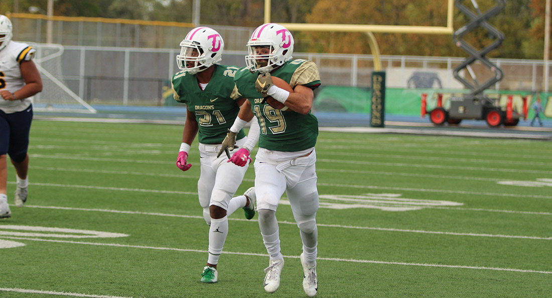 Patrick Tueimeh returned a fumble 57 yards for a touchdown in the Dragons' 45-7 win over Alderson Broaddus.