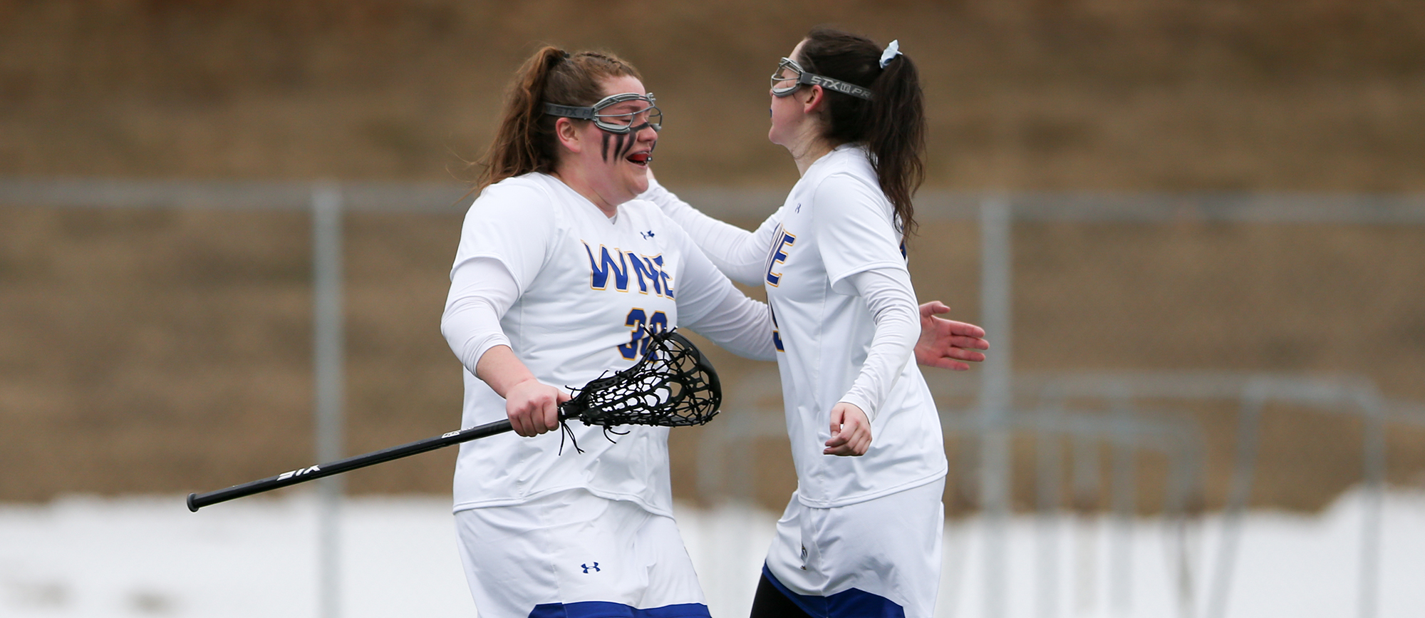 Eileen Ruby and Kristen Breen led the Western New England offense on Wednesday as the Golden Bears capped their regular season with a 20-12 win over Salve Regina. (Photo by Chris Marion)