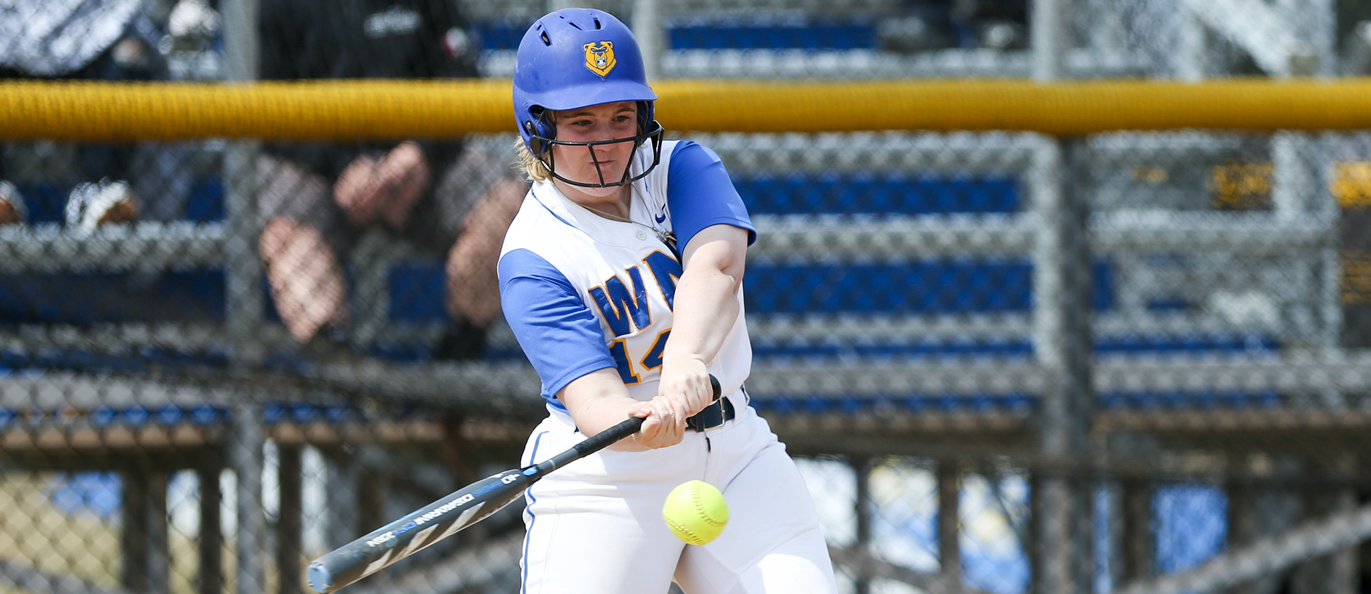 Dina DiBlasio hit her third home run of the season and added a double as Western New England fell to Endicott 4-1 & 4-3 on Wednesday. (Photo by Chris Marion)