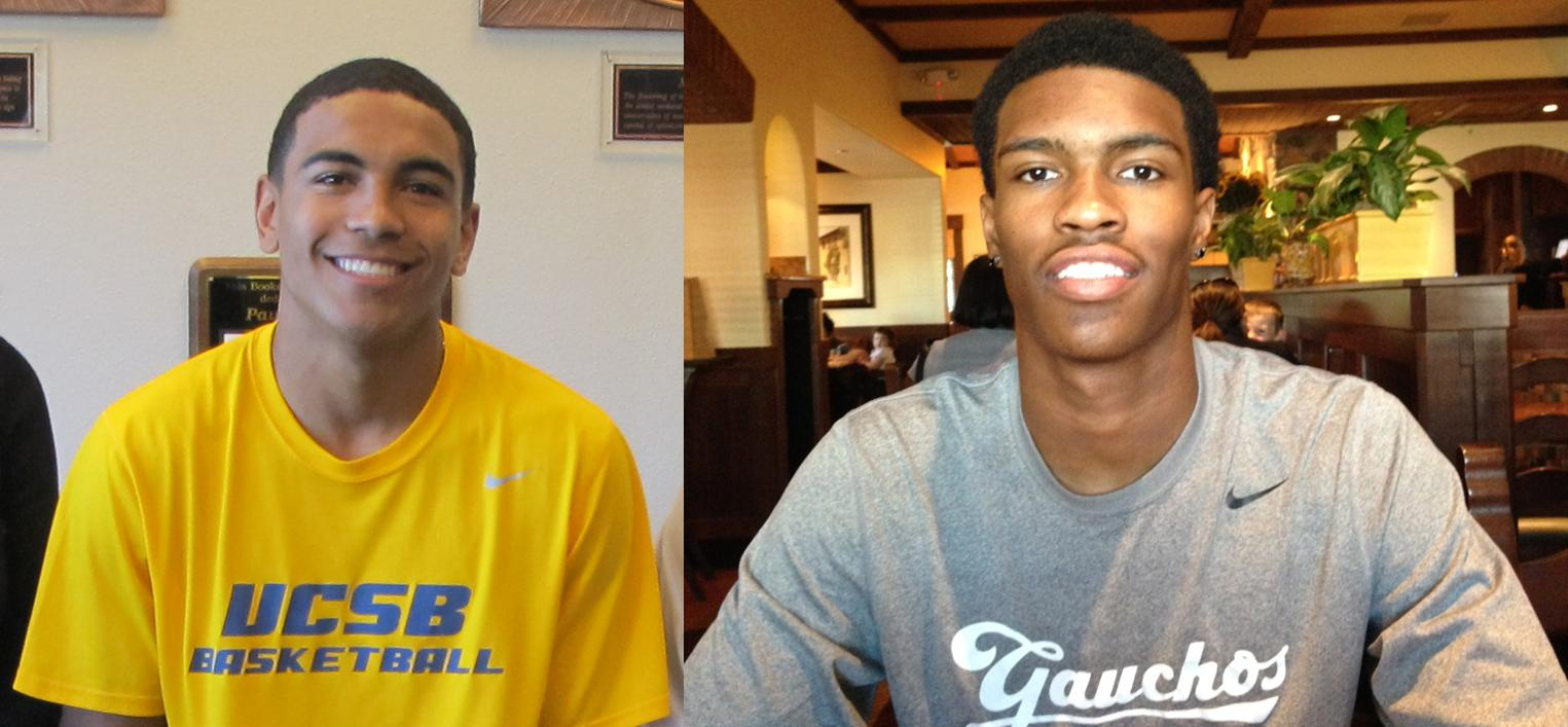 Gabe Vincent (L) and Justin Burks (R) have signed National Letters of Intent to play basketball at UCSB beginning in 2014-15.
