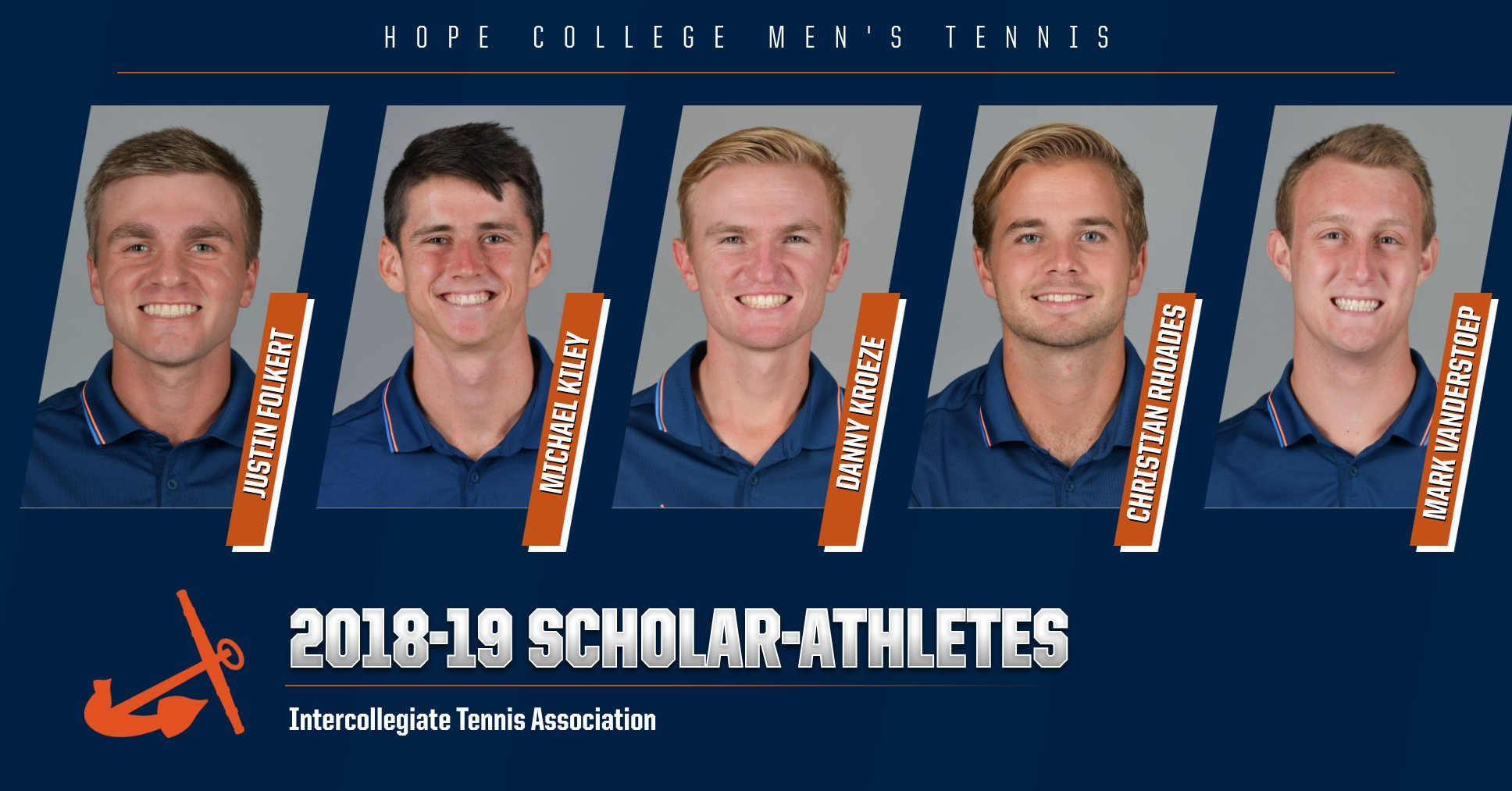 Five Hope men's tennis players pose for portraits