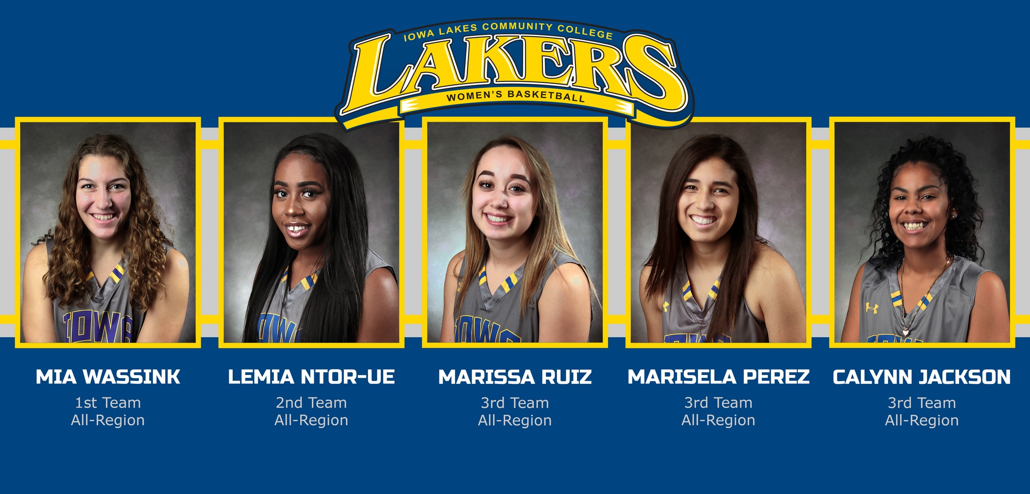 Five Iowa Lakes Women's Basketball Members Selected to All-Region Teams