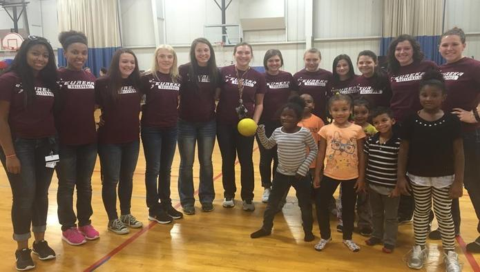 Eureka Volleyball Visits Local YWCA
