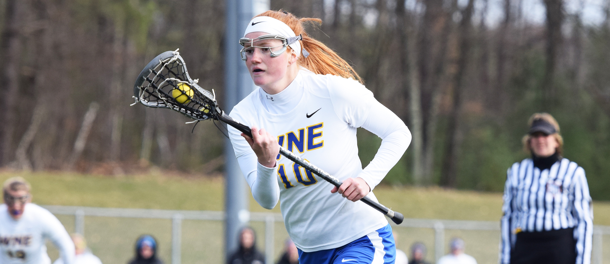 Sophomore Lindsey Phillips scored three goals and secured five draws in Western New England's 17-8 loss to UNE in the first round of the CCC Tournament on Saturday. (Photo by Rachael Margossian)