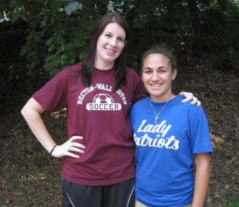 Felician graduates Brittany Lohman '09 (l.) and Amanda Mottola '11 are among the youngest girls' soccer coaches in New Jersey.