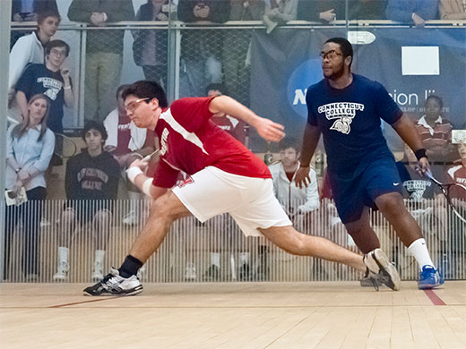 Men's squash takes final two points in 5-4 win over Hopkins