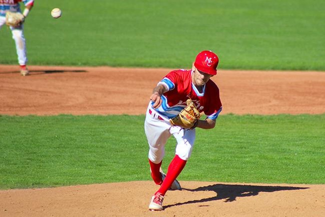 Chase Merriman pitched six scoreless innings and earned the win in Mesa's victory over Phoenix College, 4-0. (Photo by Aaron Webster)