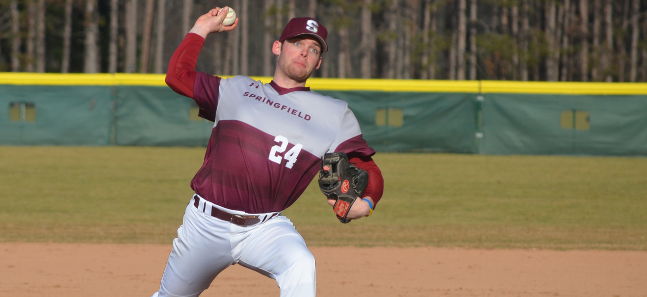 Gamache Fans 13 in Game One as Baseball Splits NEWMAC West Doubleheader With Coast Guard