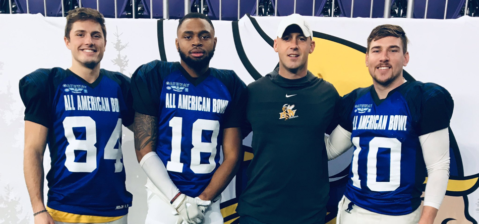 Rob Wolfington, Jordan Leverette, Coach Steve Opgenorth and Jake Hudson at the 2018 Gateway All-American Bowl
