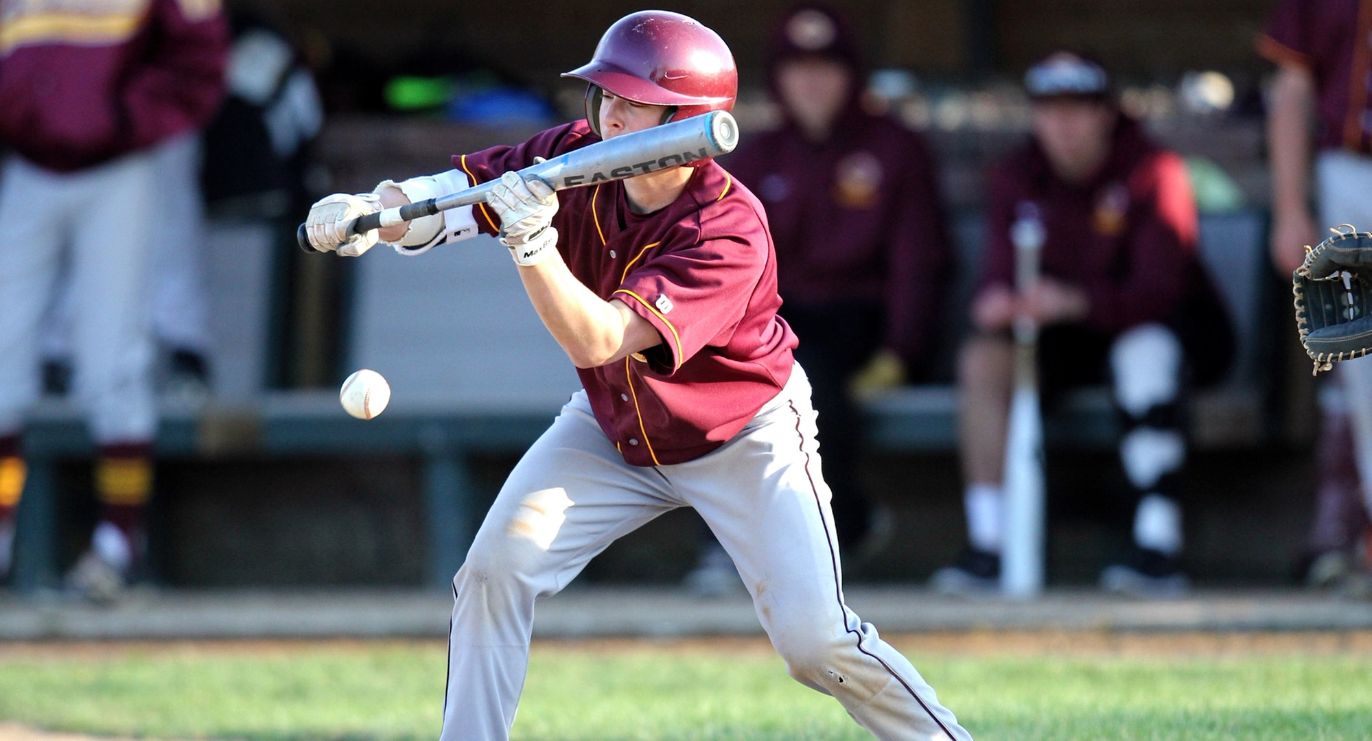 Sophomore Grant Toivonen lays down a bunt in the Cobbers' sweep at St. Olaf. Toivonen went 3-for-6 with two RBI and two runs scored on the day. (Photo courtesy of Rose Marie Peterson - St. Olaf Sports Info Dept.)