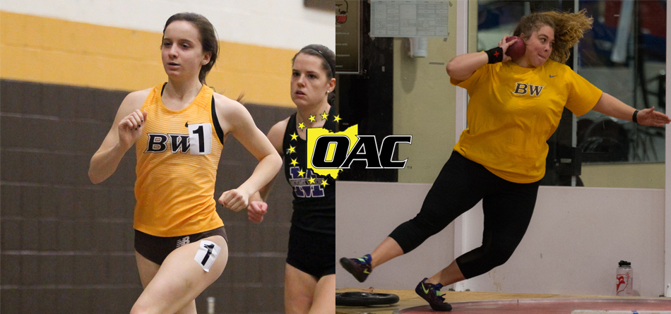 Junior outdoor All-American distance runner Kelly Brennan and junior All-OAC thrower Brooke Buckhannon (Photos courtesy of John Reid and Milton Woods)