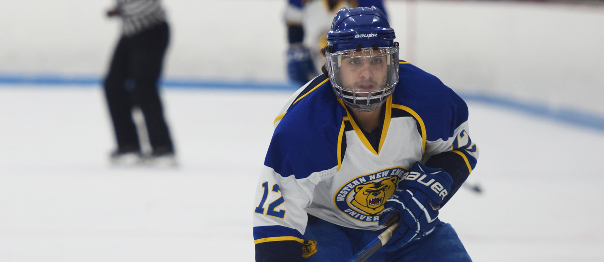Sophomore Ryan Price was one of three goal scorers for Western New England in the Golden Bears' 6-3 loss to Nichols on Friday. (Photo by Rachael Margossian)