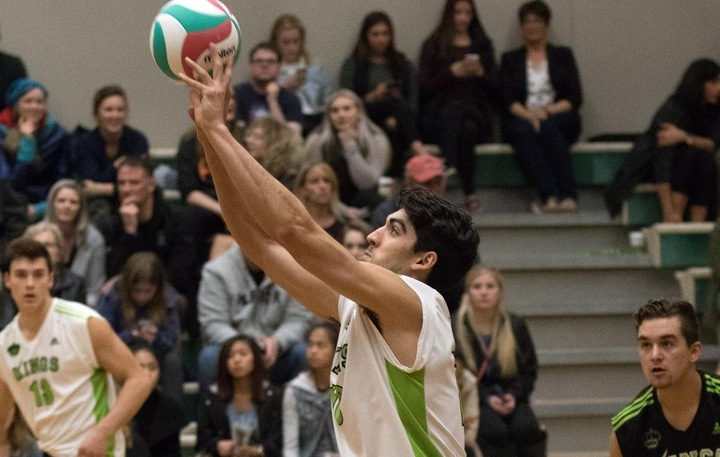 Ben Holmes (10) earned praise from Aaron Schulha after a strong weekend of volleyball.  Photo - Tony Hansen