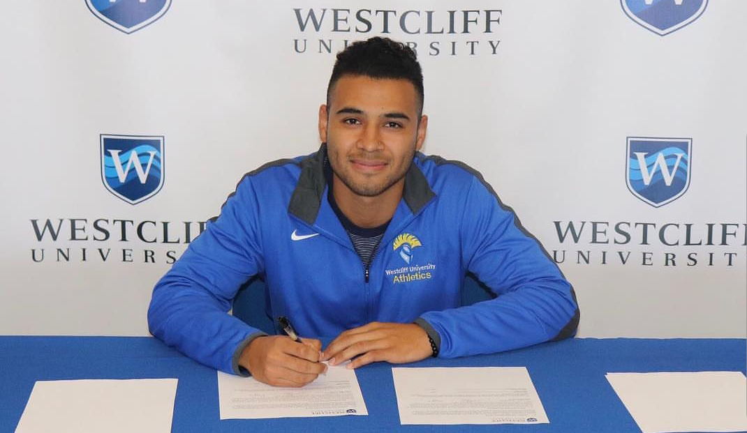 Men's soccer player Sergio Montes on his way to Westcliff