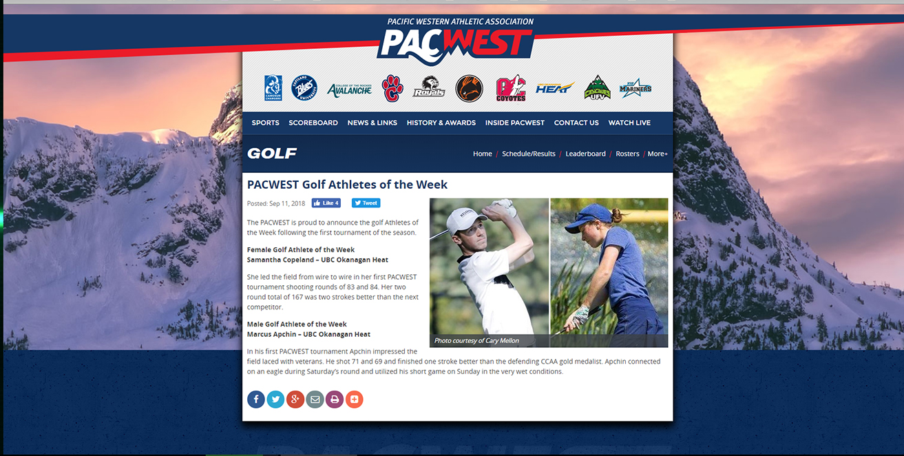 AWARDS: Heat golfers - PACWEST Golf Athletes of the Week