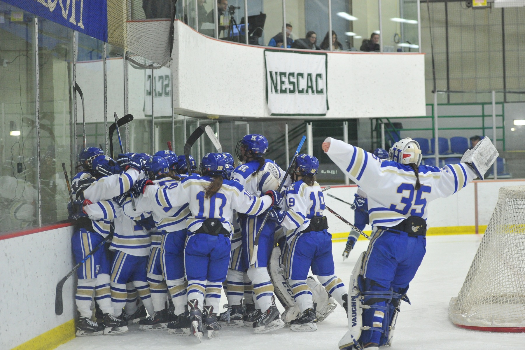 The Continentals celebrate their overtime win against Colby on Friday night (Josh McKee photo).
