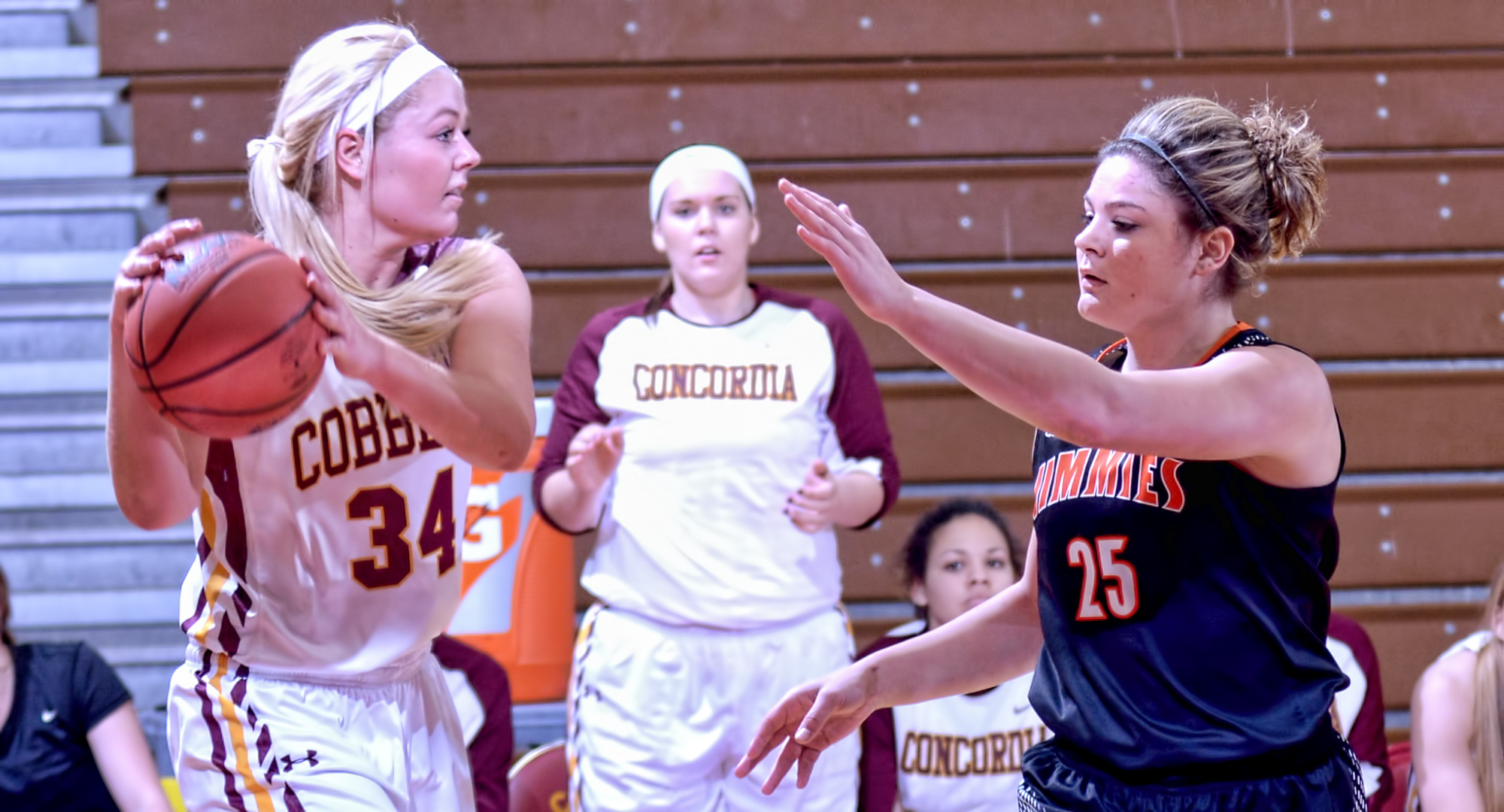 Junior Grace Wolhowe led the Cobbers in scoring and rebounding in Concordia's game at Jamestown. Wolhowe had a career-high 14 points vs. the Jimmies.