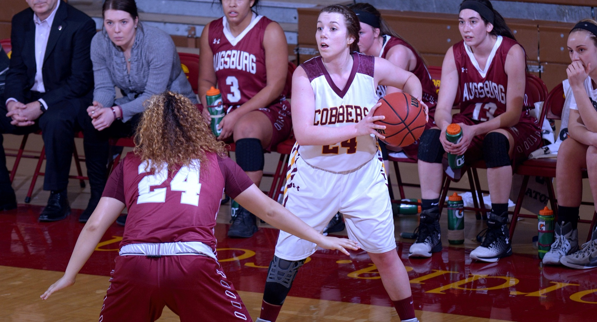 Junior Casidy Rahman looks to make a pass inside during the Cobbers' game with Augsburg. She finished with 11 points, five rebounds and two steals.